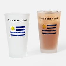 Custom Distressed Uruguay Flag Drinking Glass