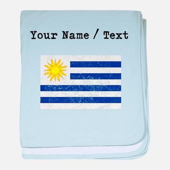 Custom Distressed Uruguay Flag baby blanket