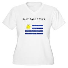 Custom Distressed Uruguay Flag Plus Size T-Shirt