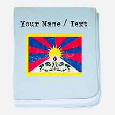 Custom Distressed Tibet Flag baby blanket
