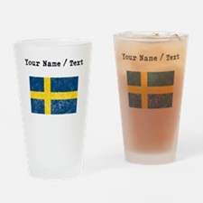 Custom Distressed Sweden Flag Drinking Glass