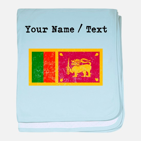 Custom Distressed Sri Lanka Flag baby blanket