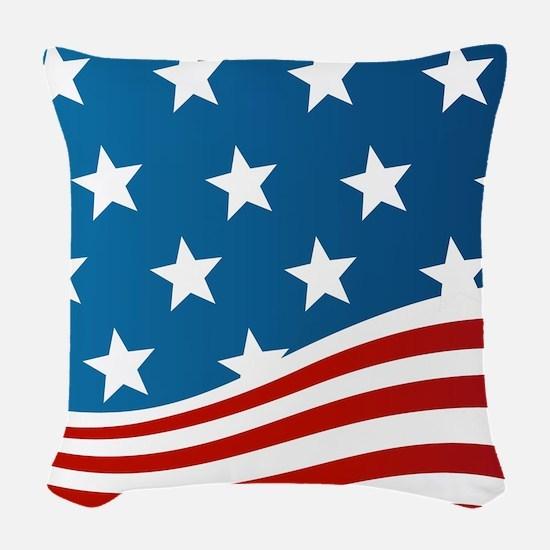 American Flag Woven Throw Pillow