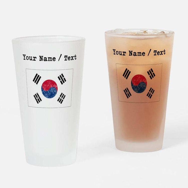 Custom Distressed South Korea Flag Drinking Glass