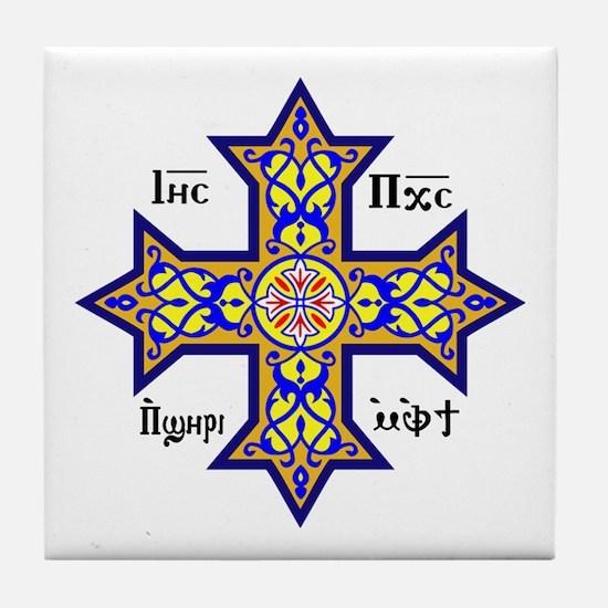 Coptic Cross Tile Coaster