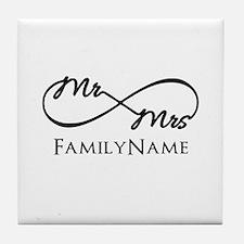 Custom Infinity Mr. and Mrs. Tile Coaster