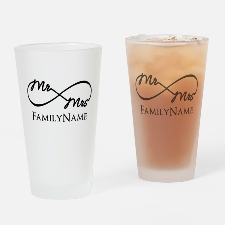Custom Infinity Mr. and Mrs. Drinking Glass