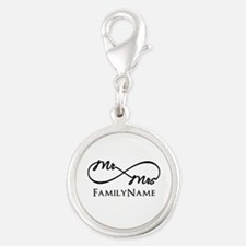 Custom Infinity Mr. and Mrs. Silver Round Charm