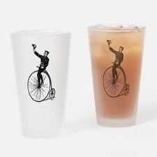 Vintage Gent On Bicycle Drinking Glass