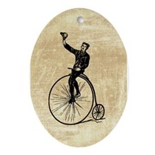 Vintage Gent On Bicycle Ornament (Oval)
