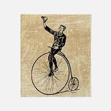 Vintage Gent On Bicycle Throw Blanket