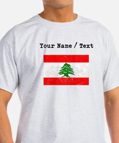Custom Distressed Lebanon Flag T-Shirt