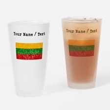 Custom Distressed Lithuania Flag Drinking Glass