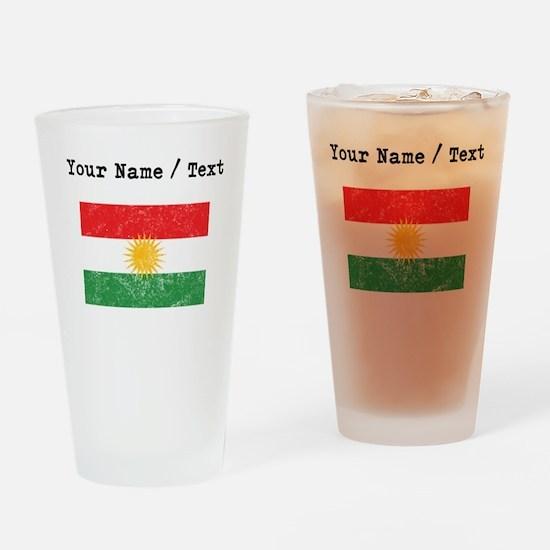Custom Distressed Kurdistan Flag Drinking Glass