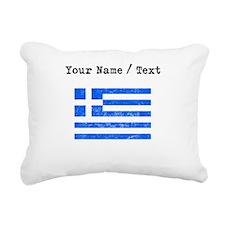 Custom Distressed Greece Flag Rectangular Canvas P