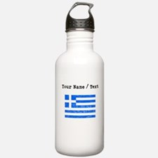 Custom Distressed Greece Flag Water Bottle