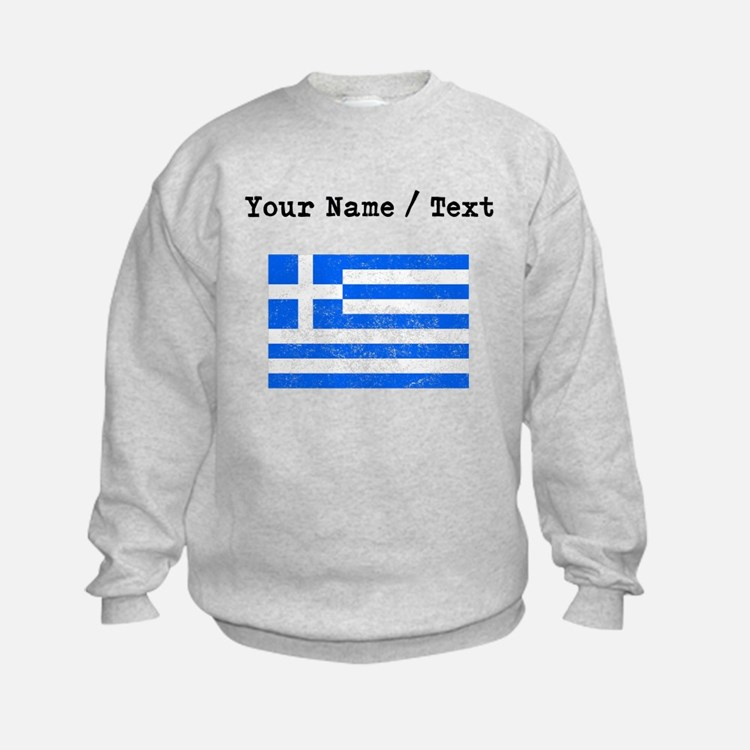 Custom Distressed Greece Flag Sweatshirt
