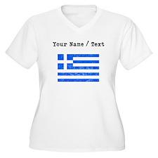Custom Distressed Greece Flag Plus Size T-Shirt