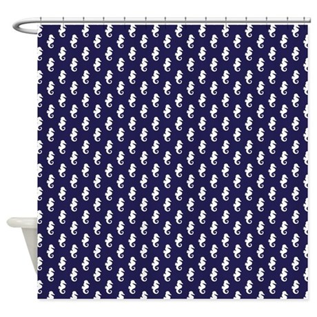Navy Blue Seahorse Pattern Shower Curtain By Mcornwallshop