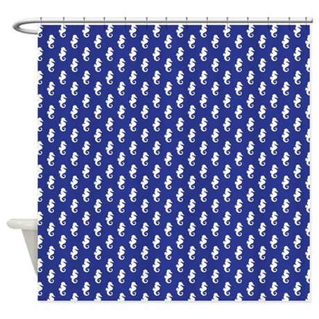 royal blue seahorse pattern shower curtain by mcornwallshop