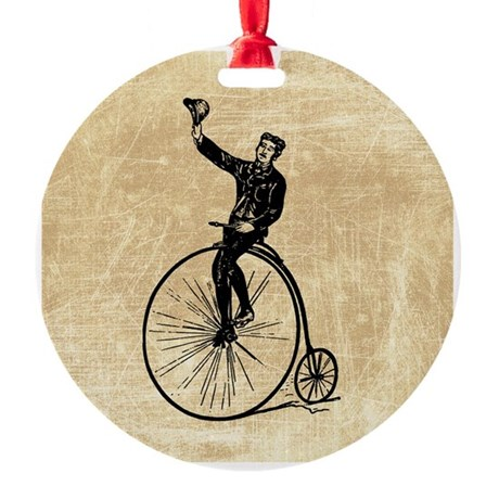Vintage Gent On Bicycle Ornament