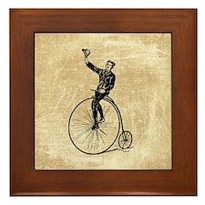 Vintage Gent On Bicycle Framed Tile