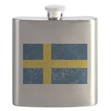 Distressed Sweden Flag Flask