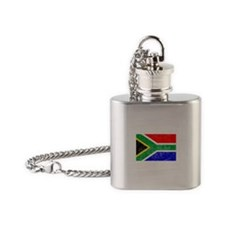 Distressed South Africa Flag Flask Necklace