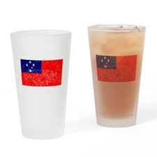 Distressed Samoa Flag Drinking Glass