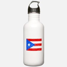 Distressed Puerto Rico Flag Water Bottle