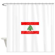 Distressed Lebanon Flag Shower Curtain