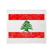 Distressed Lebanon Flag Throw Blanket