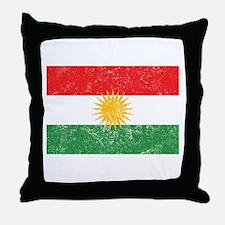 Distressed Kurdistan Flag Throw Pillow