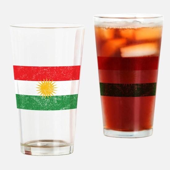 Distressed Kurdistan Flag Drinking Glass