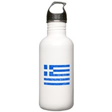 Distressed Greece Flag Water Bottle