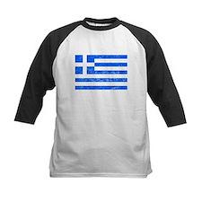 Distressed Greece Flag Baseball Jersey