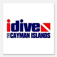 "idive (Cayman Islands) Square Car Magnet 3"" x 3"""