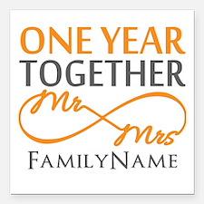 "Gift For 1st Wedding Ann Square Car Magnet 3"" x 3"""