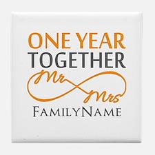 Gift For 1st Wedding Anniversary Tile Coaster