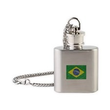 Distressed Brazil Flag Flask Necklace