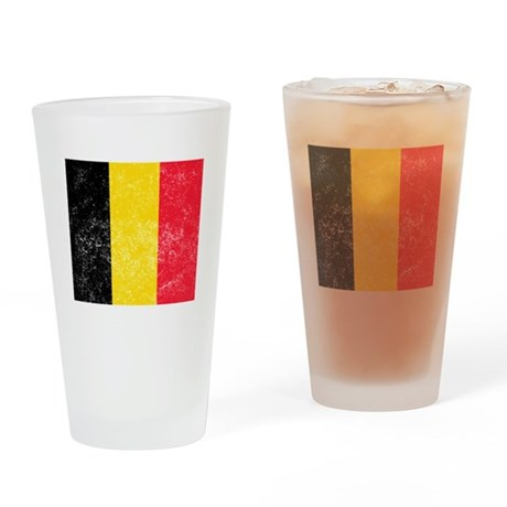 Distressed Belgium Flag Drinking Glass