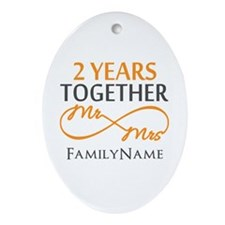 Gift For 2nd Wedding Anniversary Ornament (Oval)