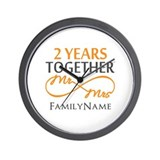 2nd wedding anniversary Wall Clocks