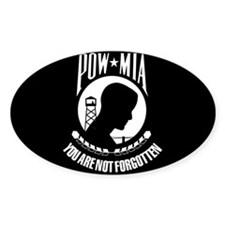POW - MIA Flag Oval Decal
