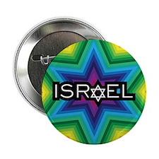 "Israel Rainbow Star 2.25"" Button"