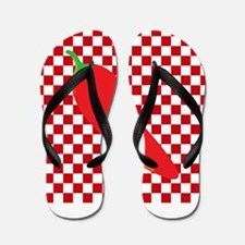 Red Chili Pepper on Checkerboard Flip Flops