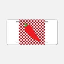Red Chili Pepper on Checkerboard Aluminum License