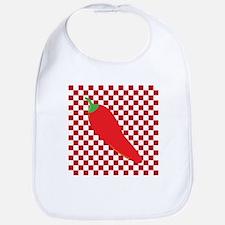 Red Chili Pepper on Checkerboard Bib