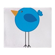 Blue Bird Cartoon Throw Blanket