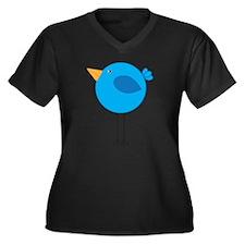 Blue Bird Cartoon Plus Size T-Shirt